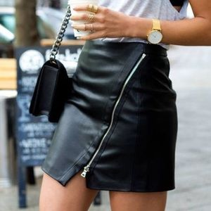 Zara faux leather asymmetrical zipper mini skirt